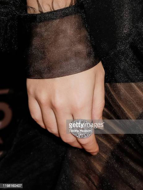 """Jessica Henwick, ring detail, attends a special fan screening of 20th Century Fox's """"Underwater"""" at Alamo Drafthouse Cinema on January 07, 2020 in..."""