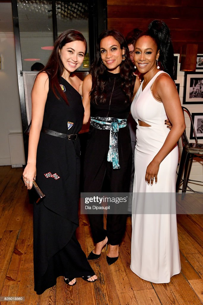 Jessica Henwick, Rosario Dawson, and Rosario Dawson attend the 'Marvel's The Defenders' New York Premiere - After Party at The Standard Biergarten on July 31, 2017 in New York City.