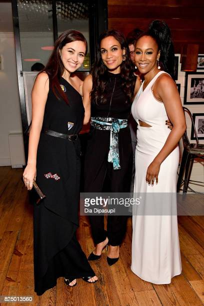 Jessica Henwick Rosario Dawson and Rosario Dawson attend the Marvel's The Defenders New York Premiere After Party at The Standard Biergarten on July...