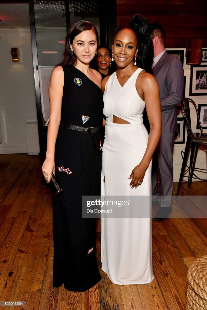 Jessica Henwick, Rosario Dawson and Simone Missick attend the 'Marvel's The Defenders' New York Premiere - After Party at The Standard Biergarten on July 31, 2017 in New York City.