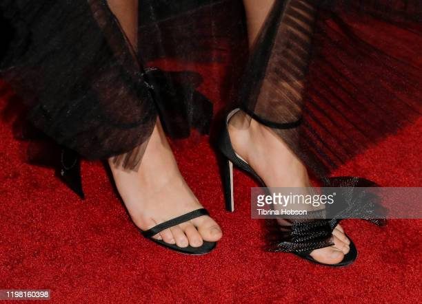 """Jessica Henwick, shoe detail, attends a special fan screening of 20th Century Fox's """"Underwater"""" at Alamo Drafthouse Cinema on January 07, 2020 in..."""