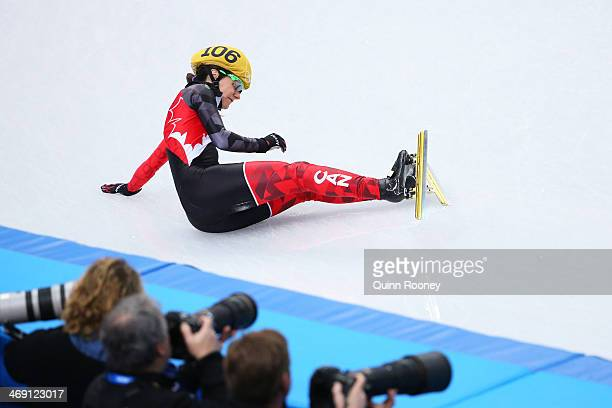 Jessica Hewitt of Canada falls as she competes in the Women's Short Track 500m heats on day 6 of the Sochi 2014 Winter Olympics at at Iceberg Skating...