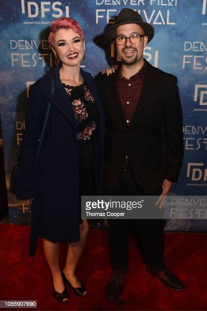 """Jessica Higgins and Director J.D. Gonzales of the Music Video Briffaut """" Feeling Good"""" on the red carpet for the 41st annual Denver Film Festival on..."""