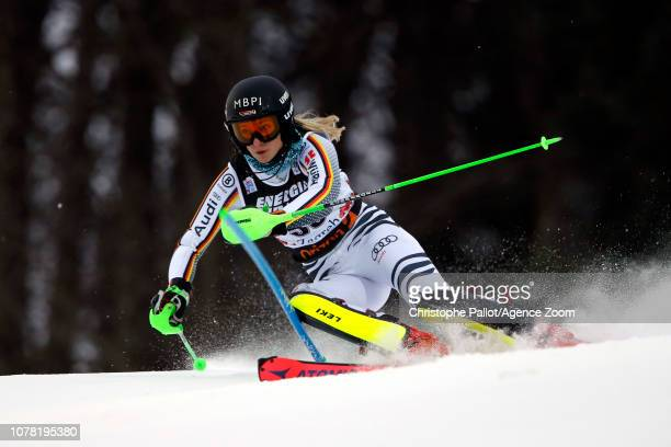 Jessica Hilzinger of Germany in action during the Audi FIS Alpine Ski World Cup Women's Slalom on January 5, 2019 in Zagreb Croatia.