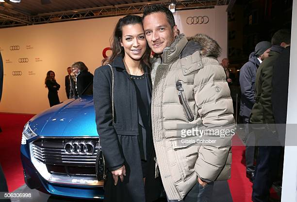 Jessica Hinterseer daughter of Hansi Hinterseer and her boyfriend Timo Scheider attend the AUDI Night 2016 during Hahnenkamm Race Weekend on January...