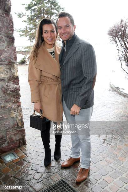 Jessica Hinterseer daughter of Hansi Hinterseer and her fiance Timo Scheider during the Neujahrs Karpfenessen at hotel Kitzhof on January 6 2019 in...