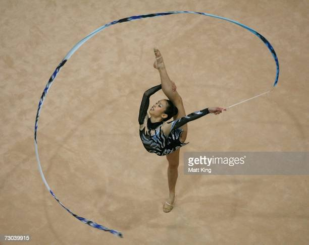Jessica Ho of Canada competes during the Women's Group AllAround Final during the Rhythmic Gymnastics competition of the Australian Youth Olympic...