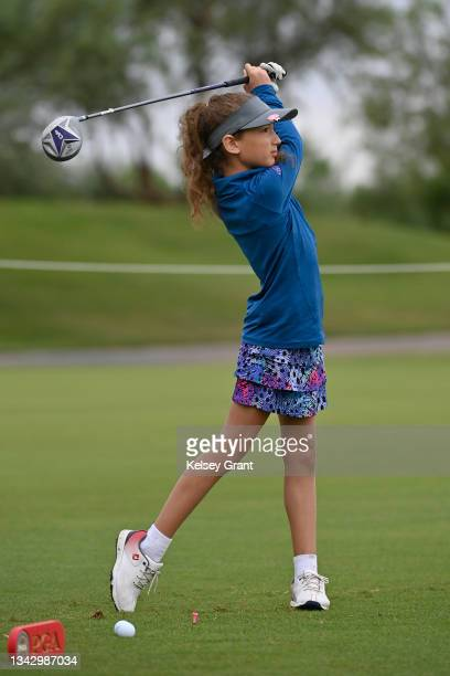 Jessica Hoerr of the girls 7-9 category attempts a drive during the 2021 Drive, Chip and Putt Regional Qualifier at TPC Scottsdale on September 26,...