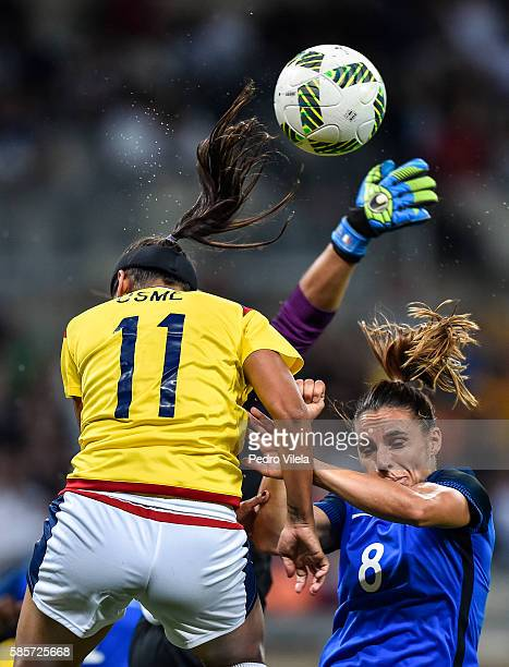 Jessica Houara of France and Catalina Perez of Colombia battle for the ball during a match between France and Colombia as part of Women's Football...