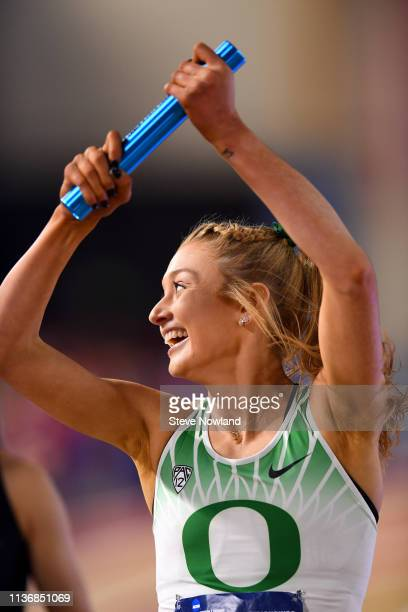 Jessica Hull of the Oregon Ducks races in the Women's Distance Medley race during the Division I Men'u2019s and Women'u2019s Indoor Track Field...