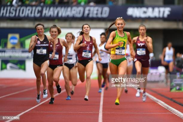 Jessica Hull of the Oregon Ducks races to a victory in the 1500 meter run during the Division I Women's Outdoor Track Field Championship held at...