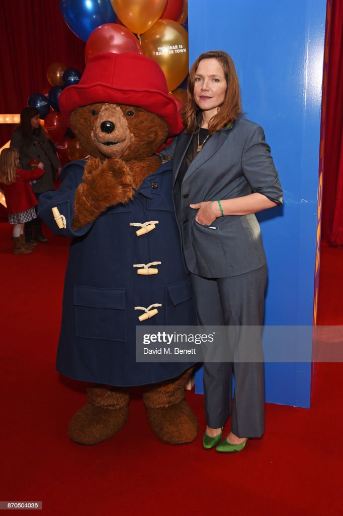 Jessica Hynes (R) poses with Paddington Bear at the World Premiere of 'Paddington 2' at Odeon Leicester Square on November 5, 2017 in London, England.