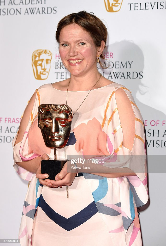 Jessica Hynes, winner of Best Female Performance in a Comedy Programme for 'W1A', poses in the winners room at the House of Fraser British Academy Television Awards at Theatre Royal on May 10, 2015 in London, England.