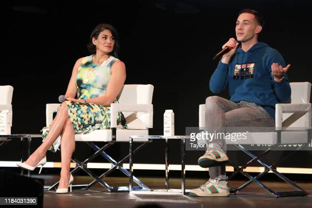 Jessica Iclisoy and Adam Rippon speak during the Forbes 30 Under 30 Summit at Detroit Masonic Temple on October 28, 2019 in Detroit, Michigan.