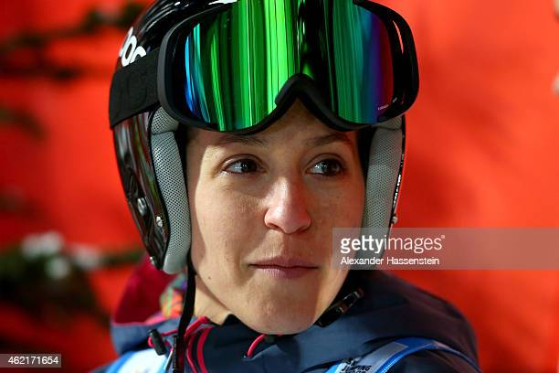 Jessica Jerome of USA smiles during day two of the Women Ski Jumping World Cup event at SchattenbergSchanze Erdinger Arena on January 25 2015 in...