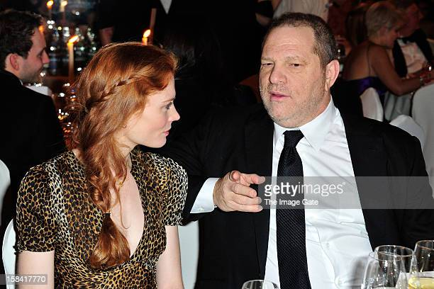 Jessica Joffe and Harvey Weinstein attend the ASMALLWORLD Gala Dinner for Alzheimer Society at the Gstaad Palace Hotel on December 15 2012 in Gstaad...