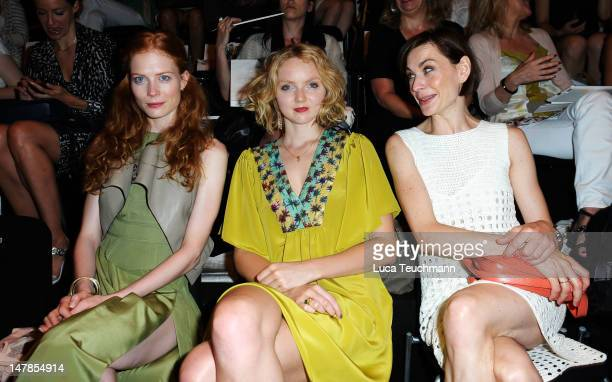 Jessica Joffe model Lily Cole and Christiane Paul sit in front row the Schumacher Show during MercedesBenz Fashion Week Spring/Summer 2013 on July 5...