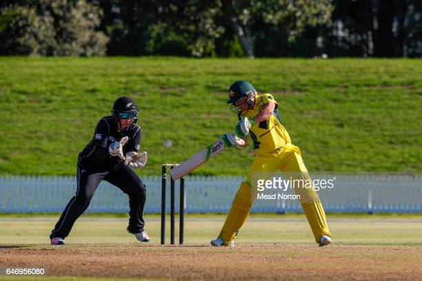 Jessica Jonassen batting during the Women's One Day International match between the New Zealand White Ferns and the Australia Southern Stars on March...