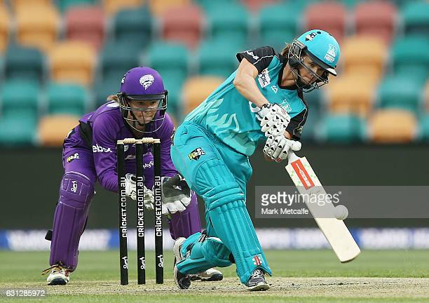 Jessica Jonassen of the Heat bats during the Women's Big Bash League match between the Brisbane Heat and the Hobart Hurricanes at Blundstone Arena on...