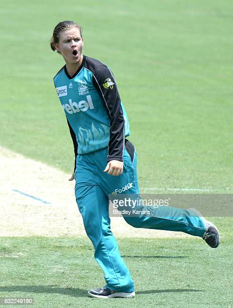 Jessica Jonassen of the Heat celebrates the wicket of Tegan McPharlin of the Strikers during the Women's Big Bash League match between the Adelaide...