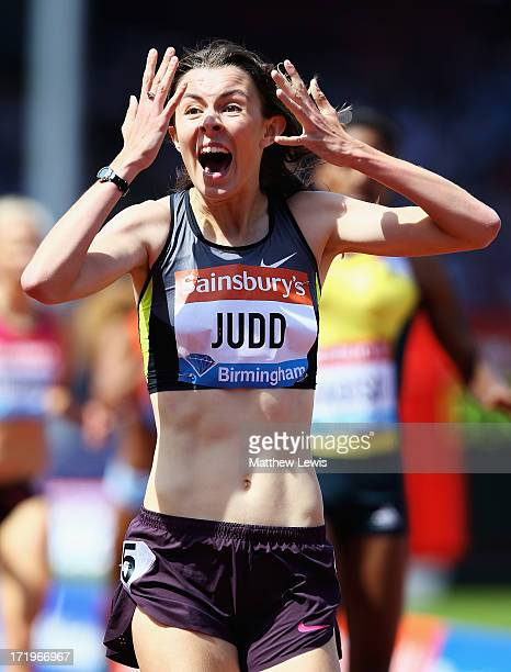 Jessica Judd of Great Britain celebrates winning the Womens 800m during the Sainsbury's Grand Prix Birmingham IAAF Diamond League at Alexander...