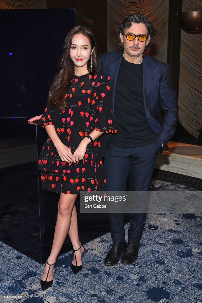 Jessica Jung (L) and Stuart Weitzman Creative Director Giovanni Morelli attend the Stuart Weitzman FW18 Presentation and Cocktail Party at The Pool on February 8, 2018 in New York City.