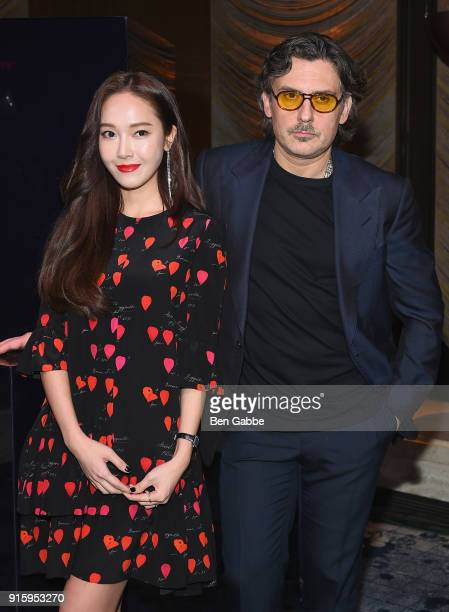 Jessica Jung and Stuart Weitzman Creative Director Giovanni Morelli attend the Stuart Weitzman FW18 Presentation and Cocktail Party at The Pool on...