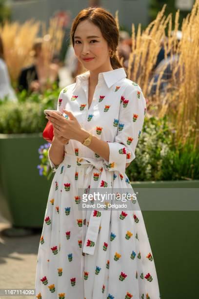 Jessica Jung is seen wearing a Carolina Herrera dress outside the Carolina Herrera show during New York Fashion Week S/S20 on September 09 2019 in...