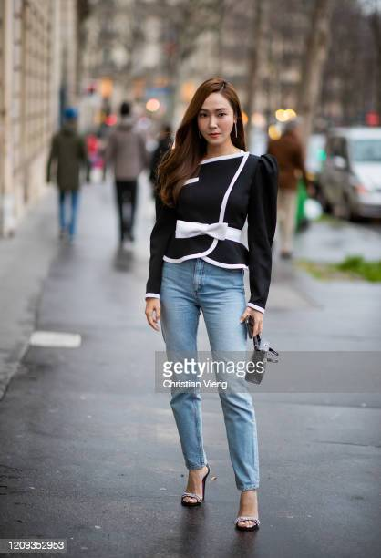 Jessica Jung is seen wearing denim jeans outside Alessandra Rich during Paris Fashion Week Womenswear Fall/Winter 2020/2021 Day Five on February 28...