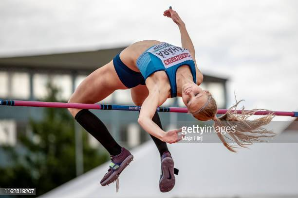 Jessica Kaehaerae of Finland competes during High Jump Qualifying round on July 18 2019 in Boras Sweden
