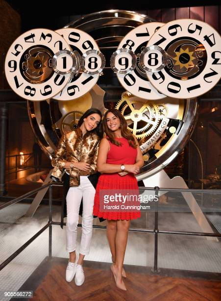 Jessica Kahawaty and Hend Sabri visit the IWC booth during the Maison's launch of its Jubilee Collection at the Salon International de la Haute...