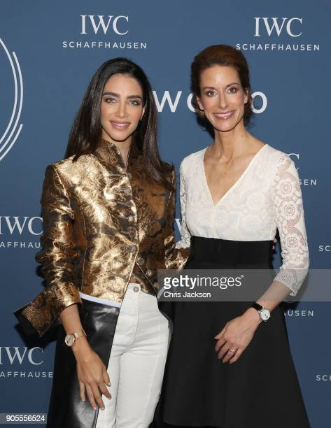 Jessica Kahawaty and IWC CMO Franziska Gsell at the IWC booth during the Maison's launch of its Jubilee Collection at the Salon International de la...
