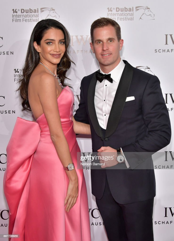 Jessica Kahawaty and IWC Schaffhausen CEO Christoph Grainger-Herr attend the IWC Filmmakers Award on day two of the 14th annual Dubai International Film Festival held at the One and Only Hotel on December 7, 2017 in Dubai, United Arab Emirates.