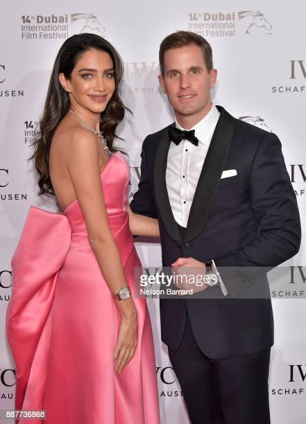 Jessica Kahawaty and IWC Schaffhausen CEO Christoph GraingerHerr attend the IWC Filmmakers Award on day two of the 14th annual Dubai International...