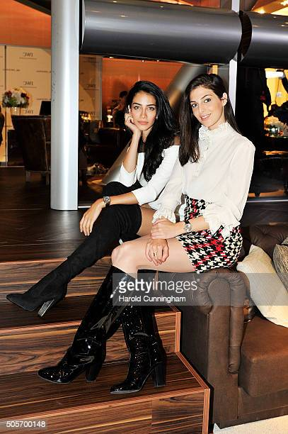 Jessica Kahawaty and Razane Jammal visit the IWC booth during the launch of the Pilot's Watches Novelties from the Swiss luxury watch manufacturer...
