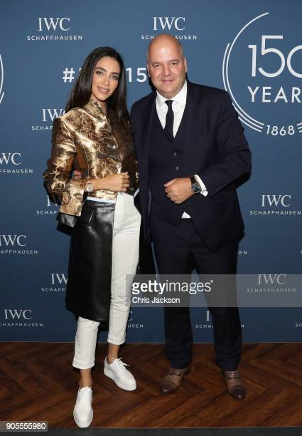 Jessica Kahawaty and Regional Brand Director Luc Rochereau visits the IWC booth during the Maison's launch of its Jubilee Collection at the Salon...