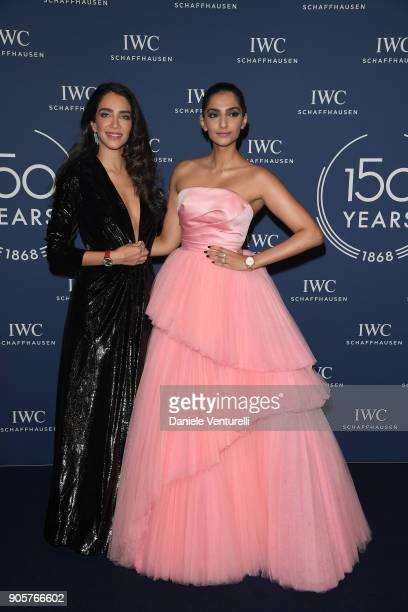 Jessica Kahawaty and Sonam Kapoor walks the red carpet for IWC Schaffhausen at SIHH 2018 on January 16 2018 in Geneva Switzerland