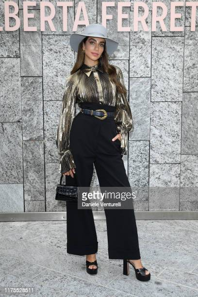 Jessica Kahawaty attends the Alberta Ferretti fashion show during the Milan Fashion Week Spring/Summer 2020 on September 18, 2019 in Milan, Italy.