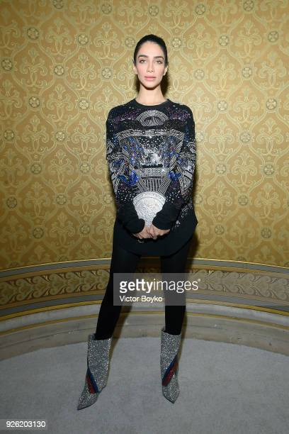 Jessica Kahawaty attends the Balmain show as part of the Paris Fashion Week Womenswear Fall/Winter 2018/2019 on March 2 2018 in Paris France