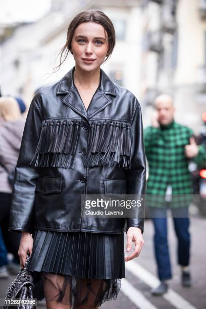 Jessica Kahawaty attends the Ermanno Scervino show at Milan Fashion Week Autumn/Winter 2019/20 on February 23, 2019 in Milan, Italy.