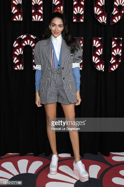 Jessica Kahawaty attends the Miu Miu show as part of the Paris Fashion Week Womenswear Fall/Winter 2020/2021 on March 03, 2020 in Paris, France.