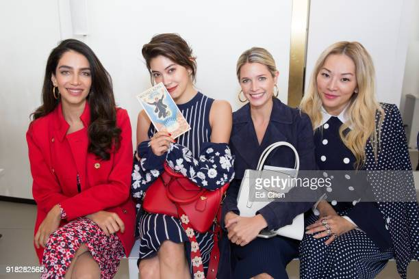 Jessica Kahawaty Hikari Mori Helena Bordon and Tina Leung attend the Michael Kors Collection Fall 2018 Runway Show at the Vivian Beaumont Theatre on...