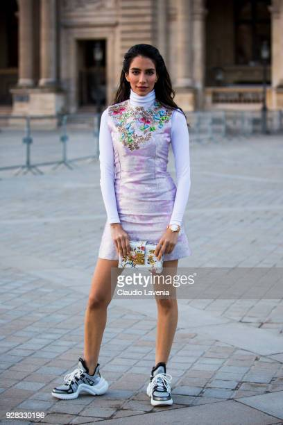 Jessica Kahawaty is seen in the streets of Paris before the Louis Vuitton show during Paris Fashion Week Womenswear Fall/Winter 2018/2019 on March 6...