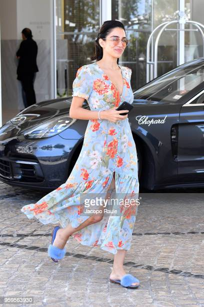 Jessica Kahawaty is seen leaving Hotel Martinez during the 71st annual Cannes Film Festival at on May 17 2018 in Cannes France