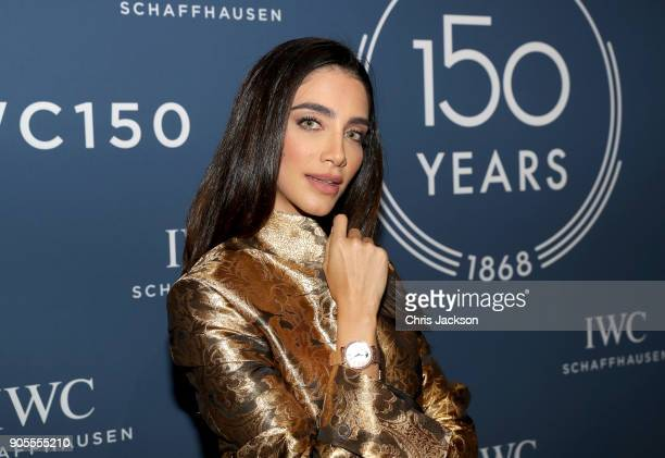Jessica Kahawaty visits the IWC booth during the Maison's launch of its Jubilee Collection at the Salon International de la Haute Horlogerie on...