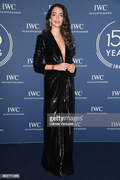 Jessica Kahawaty walks the red carpet for IWC Schaffhausen at SIHH 2018 on January 16 2018 in Geneva Switzerland