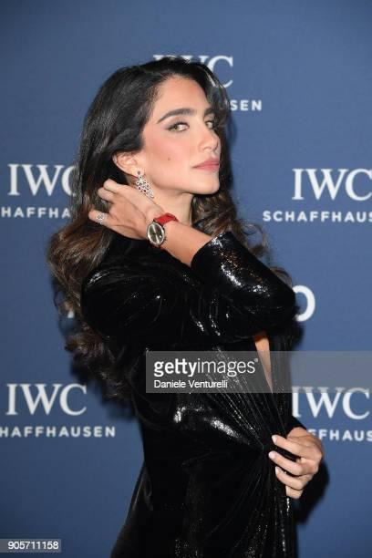 Jessica Kahawaty walks the red carpet for IWC Schaffhausen at SIHH 2018 on January 16 2018 in Geneva Switzerland