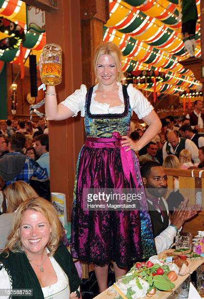 Jessica Kastrop attends the Tiffany Wiesn at the Schuetzenzelt during the Oktoberfest beer festival at Theresienwiese on September 22, 2012 in...