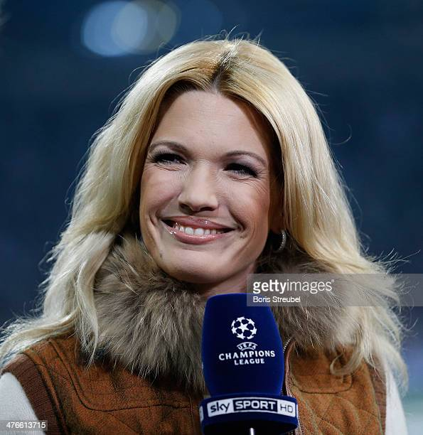 Jessica Kastrop moderator of sky television talks prior to the UEFA Champions League Round of 16 first leg match between Schalke 04 and Real Madrid...