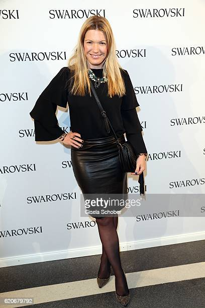 Jessica Kastrop wearing jewelry by Swarovski during the Swarovski World Jewelry Facets exhibition at Villa Wagner on November 2 2016 in Munich Germany